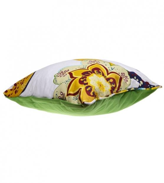 Двулицева възглавничка Зелено с цветя