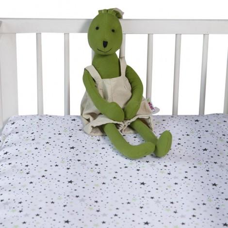 Чаршаф с ластик Зелени звезди- 2 размера| Cama mia