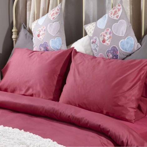 Спален комплект памучен сатен Розов с ластик | Cama mia
