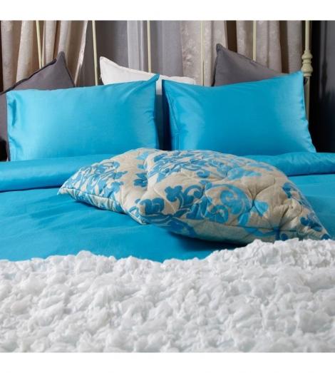 Спален комплект памучен сатен Син с ластик | Cama mia