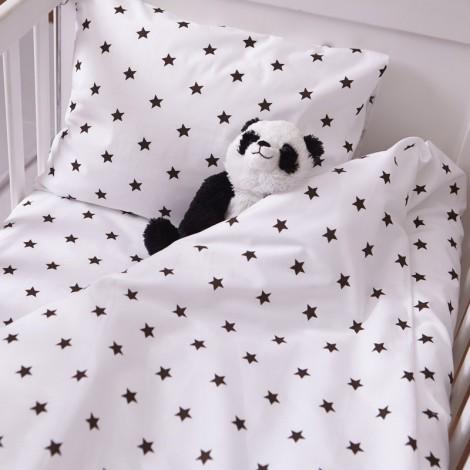 Единичен спален комплект  2 части черни звездички
